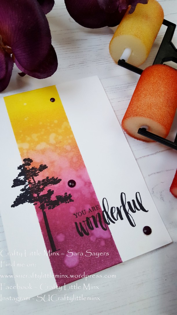 Crafty little minx Rooted in Nature sponge brayer card